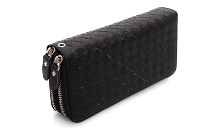 2017 Newest design high end black weave leather zipper clutch bag purse