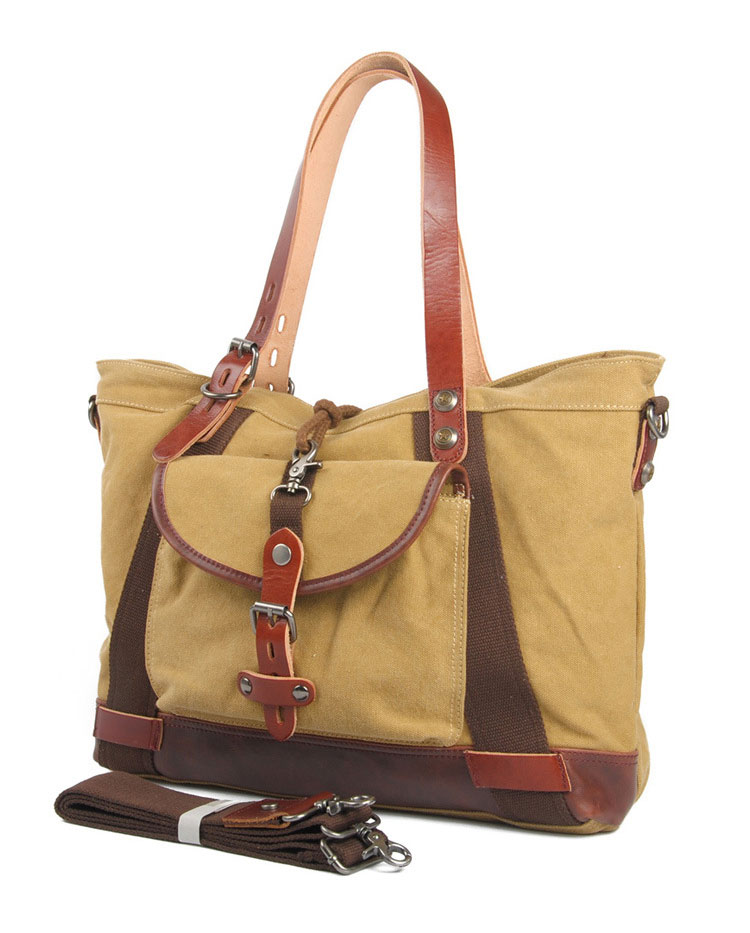 Classical design daily use good quality cotton canvas leather tote bag for women