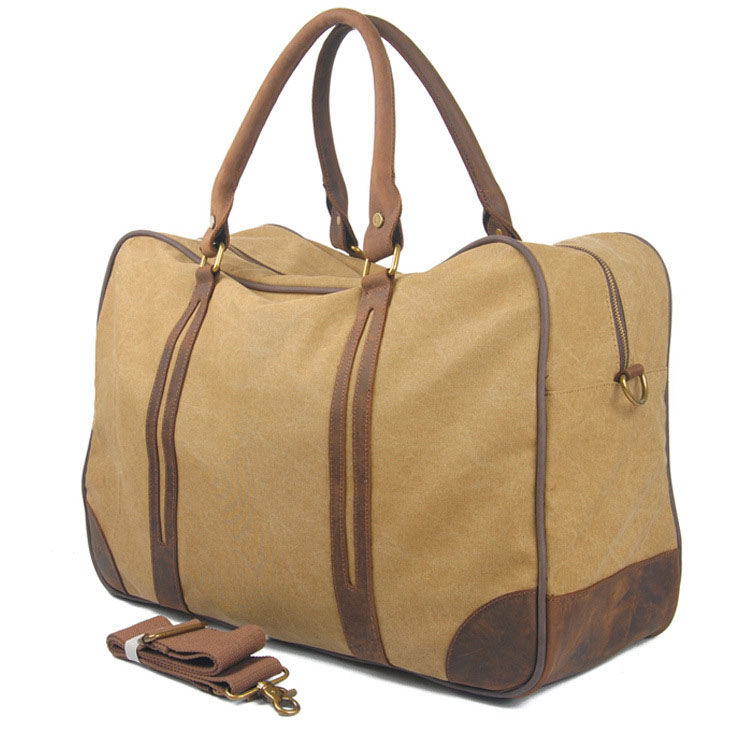 Trendy design vintage style good price of canvas leather polo travel duffle bag
