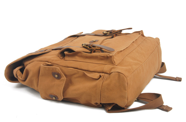China manufacturer low price khaki canvas laptop backpack bag with pure leather for men