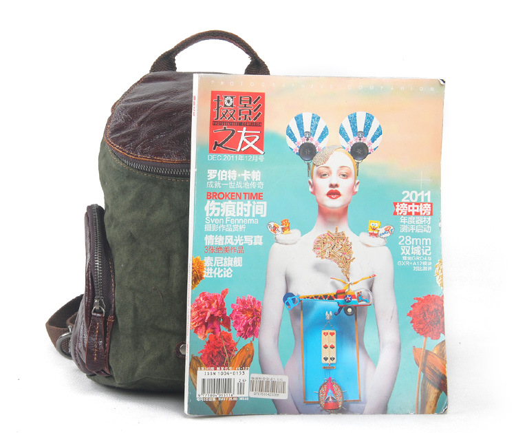 Hot selling leisure style canvas leather mini cute backpacks for school girl