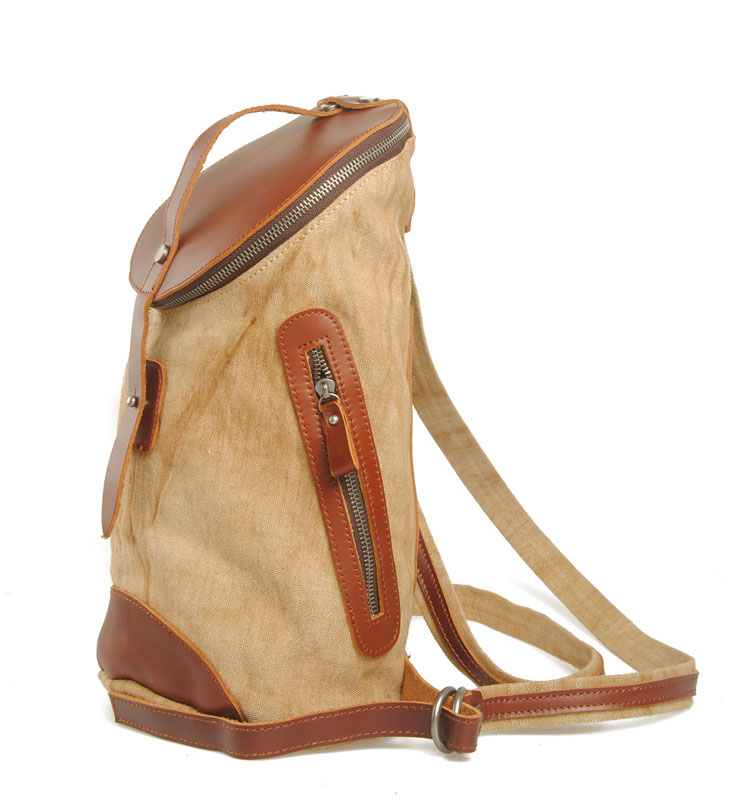 New arrival special design khaki linen and leather cool backpacks