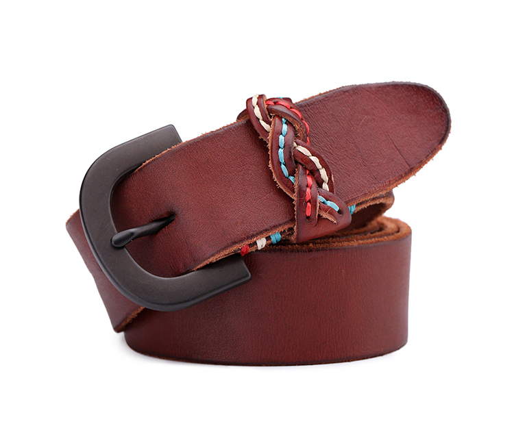 China factory low price vintage style brown leather waist belts