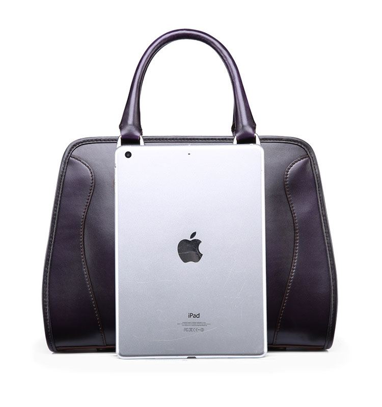 2016 new design high end custom purple leather ladies tote bags