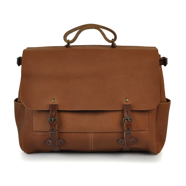 High end vintage tan real leather mens shoulder messenger bags