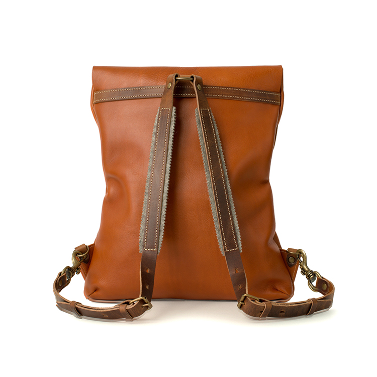 Popular new design vegetable tanned leather laptop backpack for men