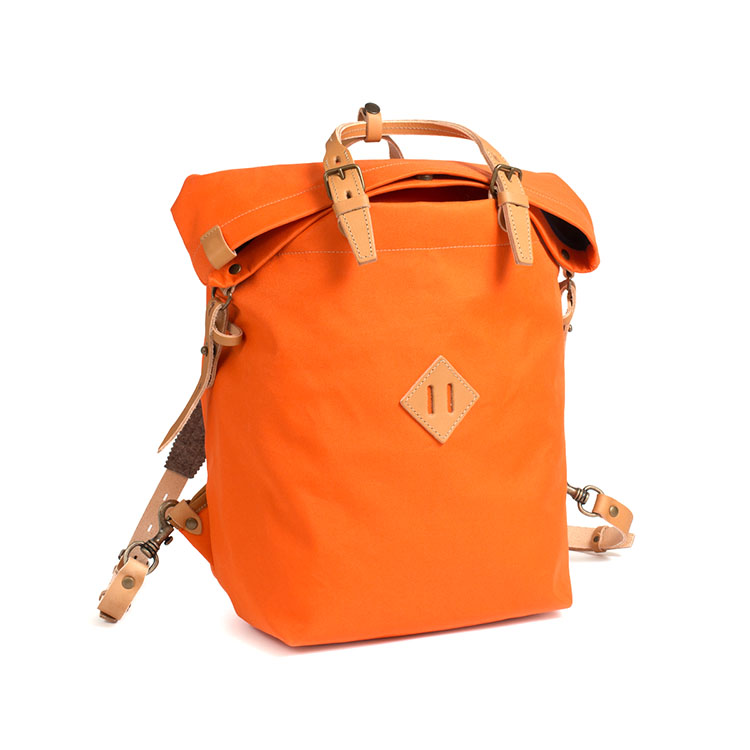 New design orange cotton fabric canvas backpack korean with custom logo