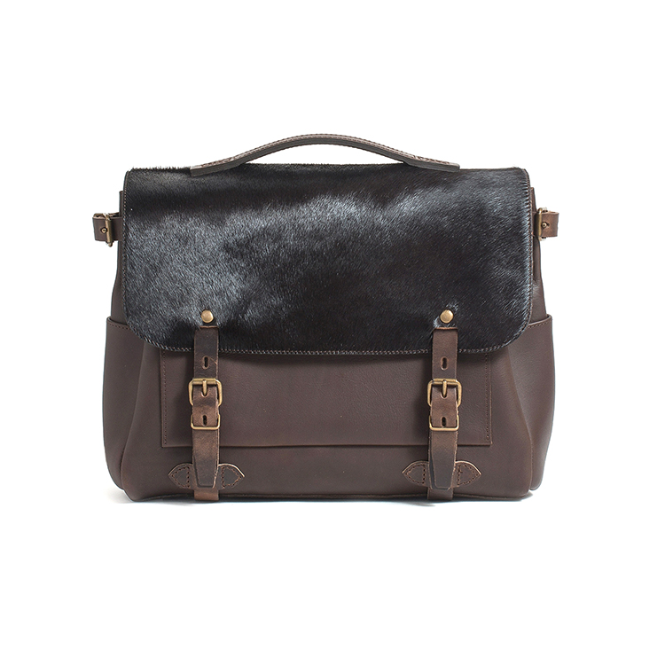 High end good quality genuine leather shoulder messenger bag with fur for men