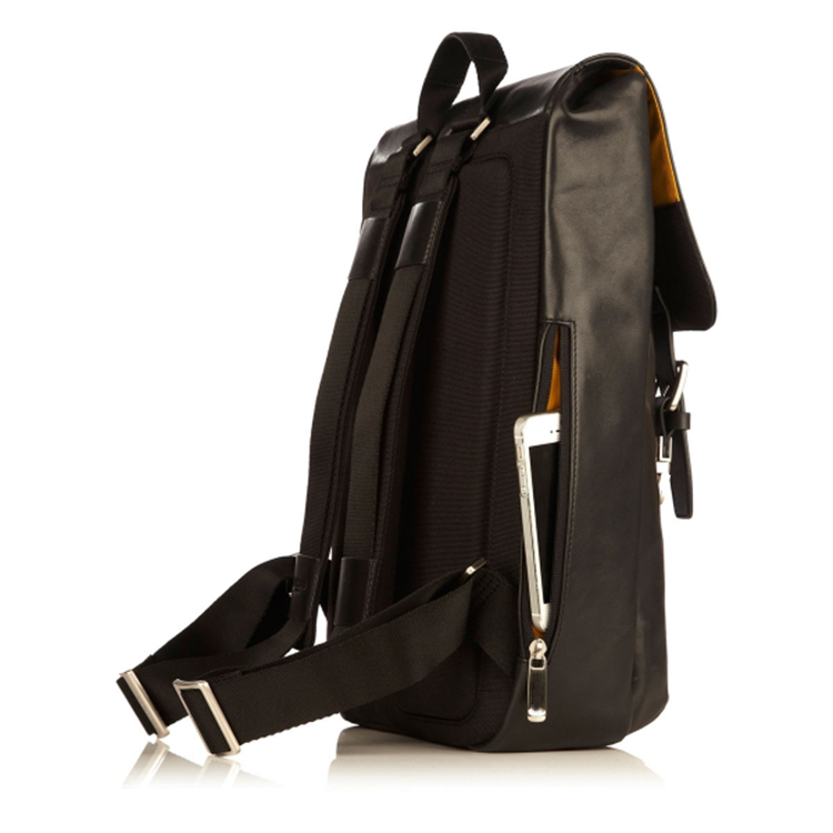 Good quality popular design daily use black leather laptop backpack for men