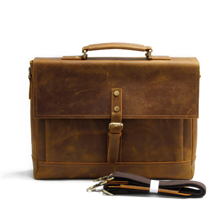 Factory custom leather briefcase bag vintage document portfolio good quality laptop briefcase