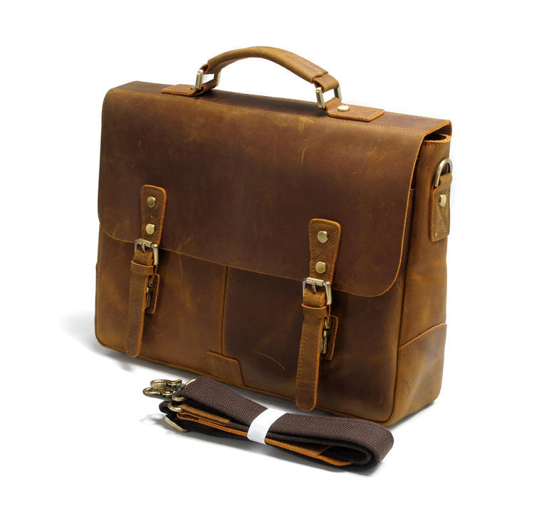 2017 manufacturer low price good quality italy crazy horse leather messenger briefcase bag