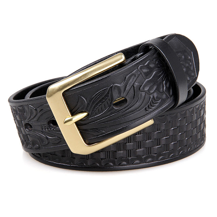 Hot selling embossed pattern vegetable tanned leather belt with pure copper buckle for men
