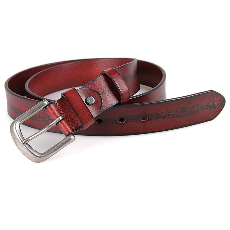 2017 fashionable design casual belt vintage red color real leather waist belt for men