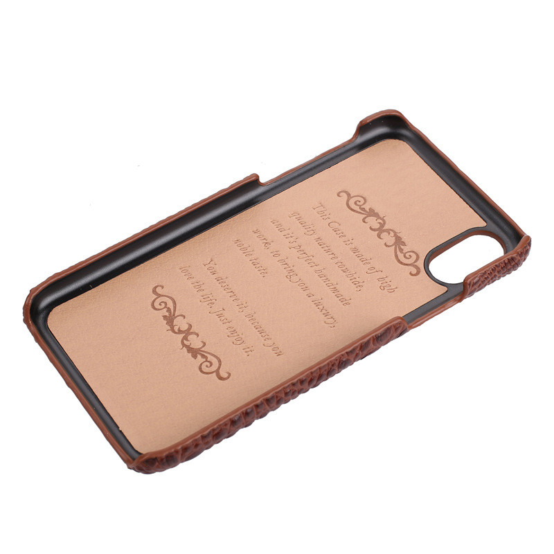 Good price luxury design genuine leather crocodile grain leather mobile phone case for iphonex