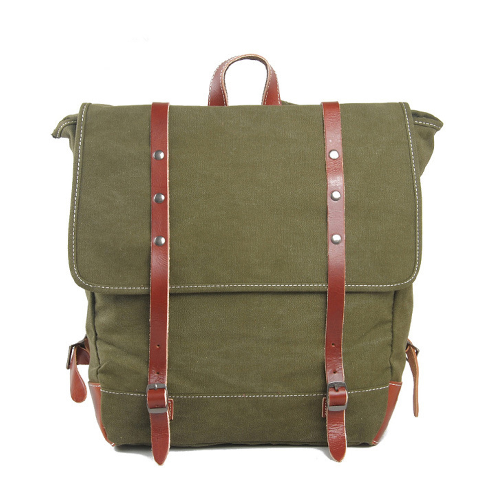 Hot sales good price high quality thick army green canvas leather travel backpack