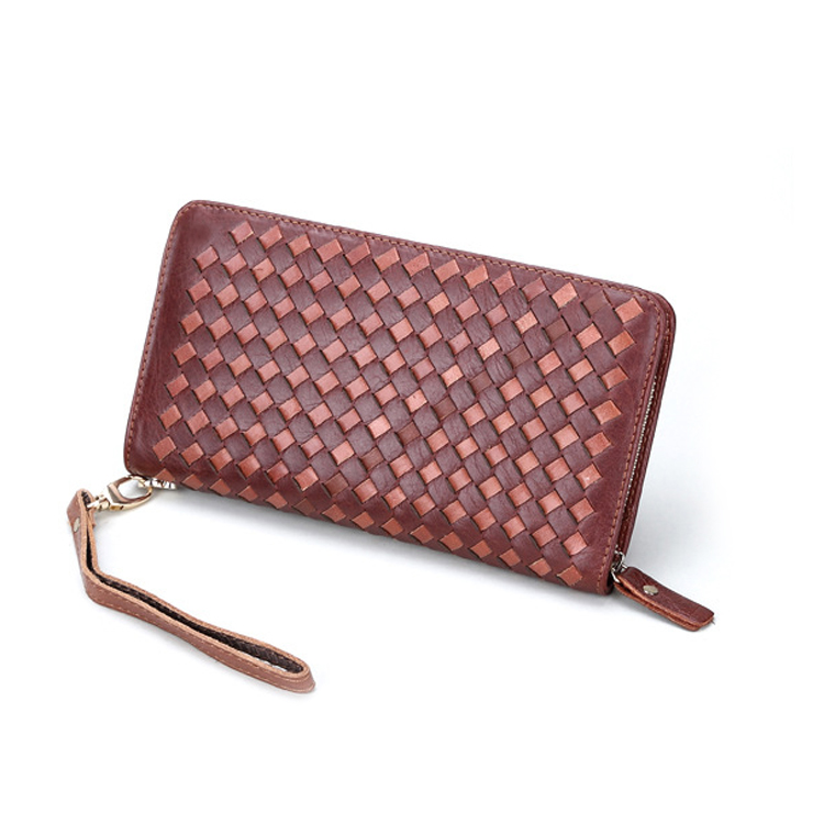 Handmade BV design genuine leather zipper wallets for men