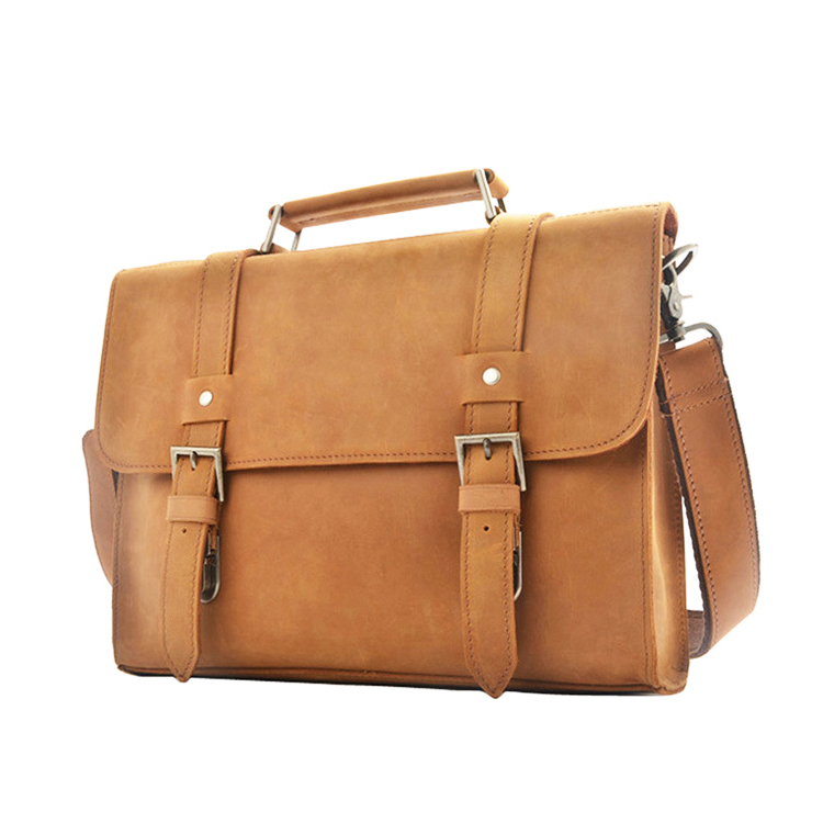 Handmade good quality men designer crazy horse leather messenger bags