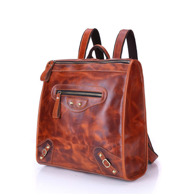 Casual style vintage leather school backpack bag for girls