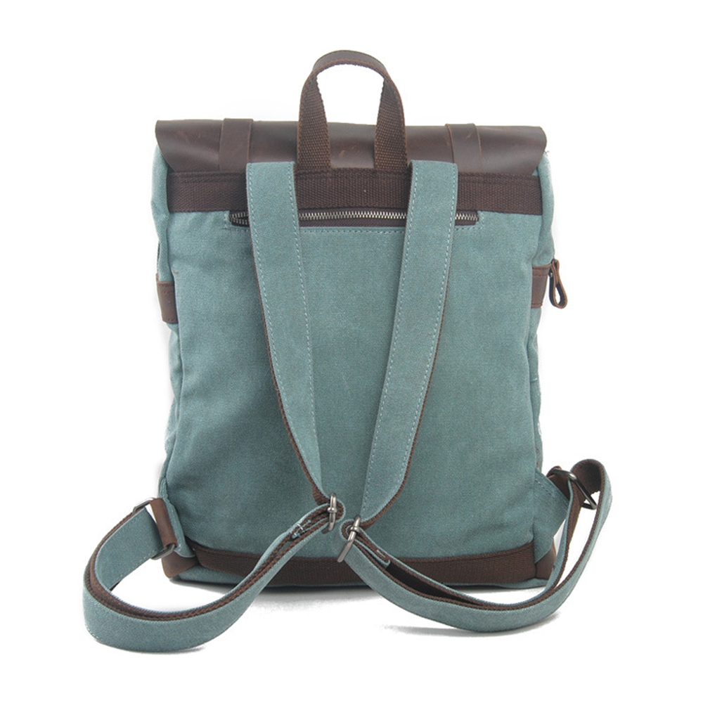 American style vintage thick canvas leather laptop backpack