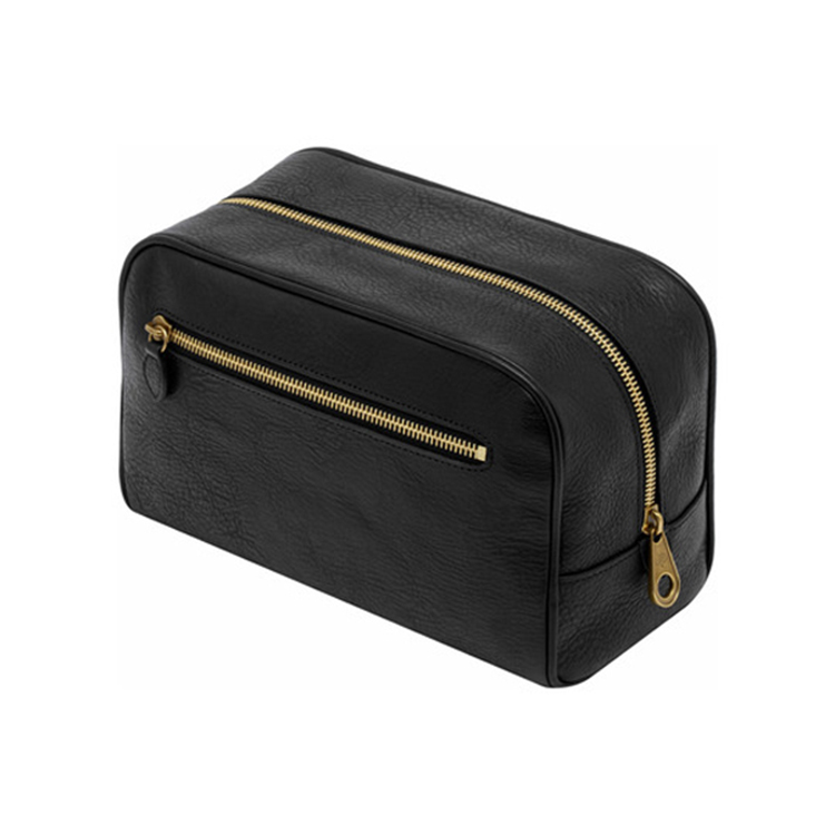 Wholesale good quality full grain leather mens travel toiletry wash bag