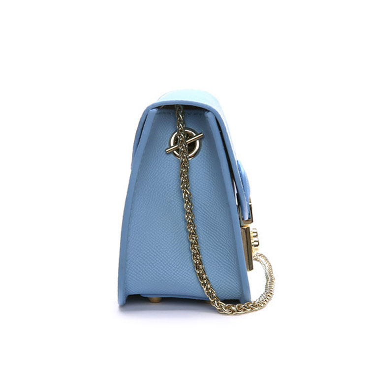 Popular small size metal chain shoulder leather lady bag