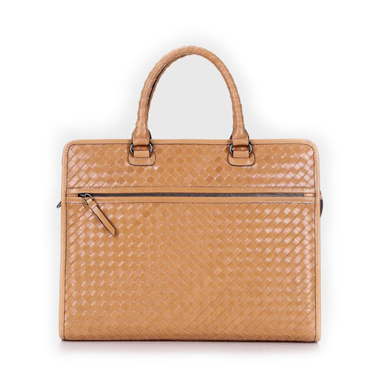 High end handmade weave leather business briefcase bag for men