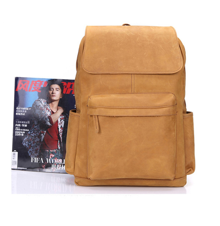 2017 high quality crazy horse leather laptop backpacks bag