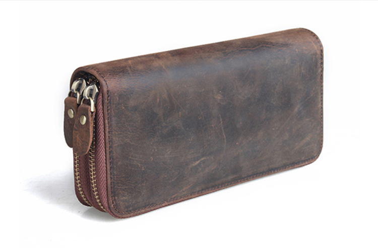 Big brand designer good quality crazy horse leather men's clutch bag