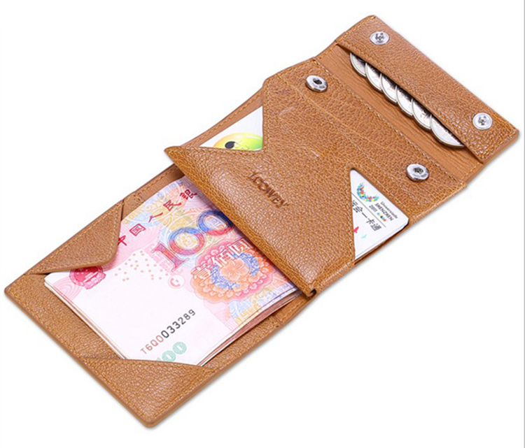 2017 new arrival special design rfid men's tan leather wallet