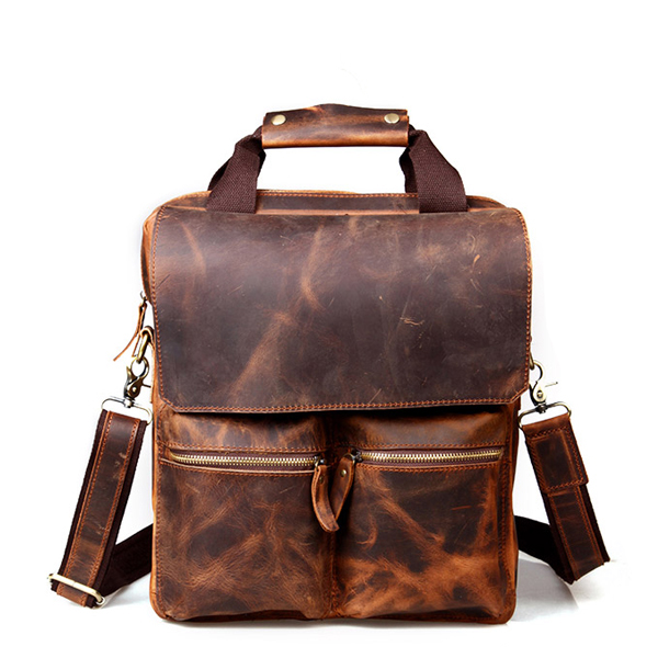 Good quality low price mens crazy horse leather messenger bag briefcase