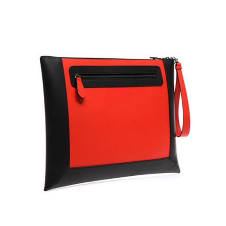2016 most fashionable black and red real leather designer hand bag clutch bag