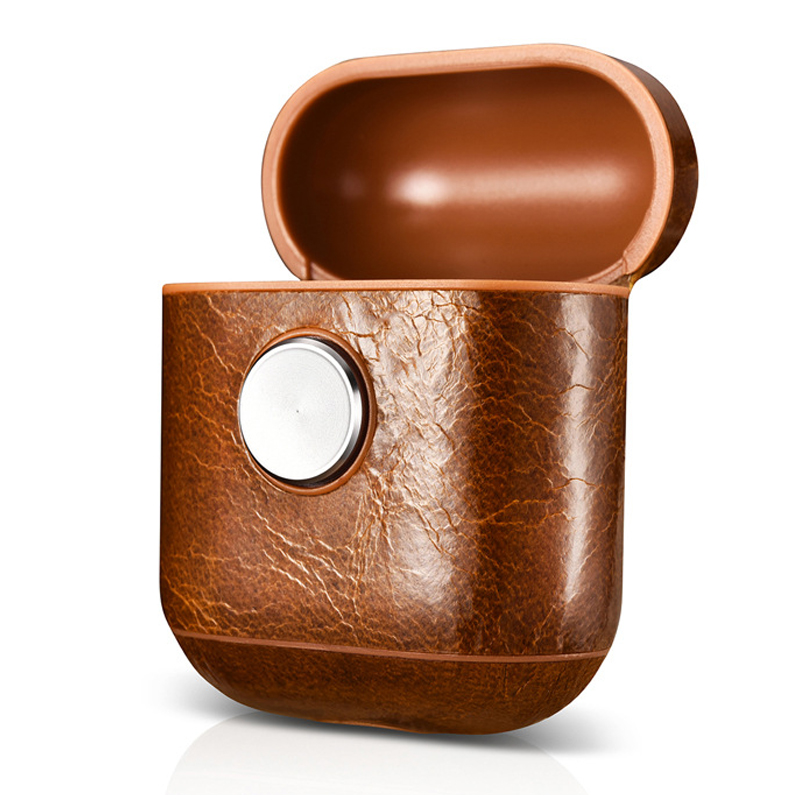 Guangzhou factory price good quality genuine leather hand spinner airpods case earphone cases