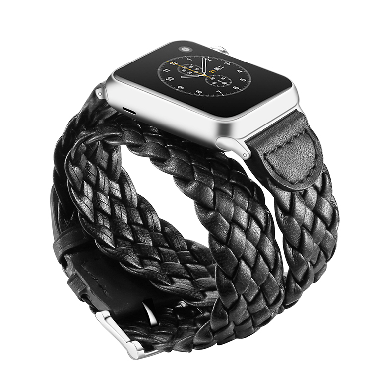 Factory price fashion design 38mm 42mm black color weave leather watch strap