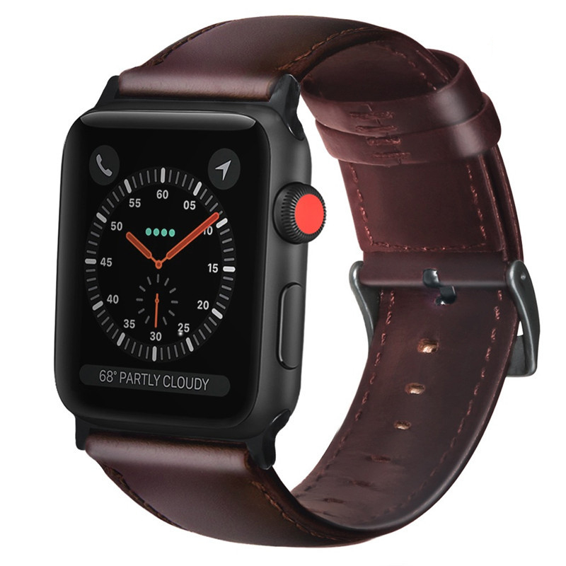 Amazon hot selling good quality genuine leather watch band leather straps for apple watch