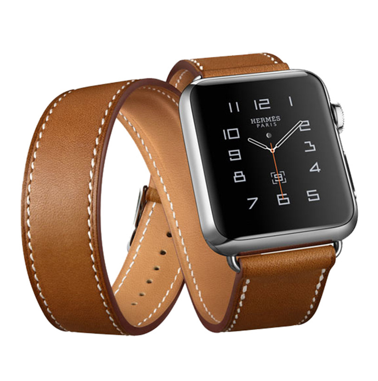Famous branded design good quality 38mm width full grain leather apple watch straps