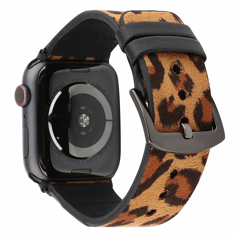Amazon hot selling good quality leopard pattern leather watch straps 42mm apple watch bands