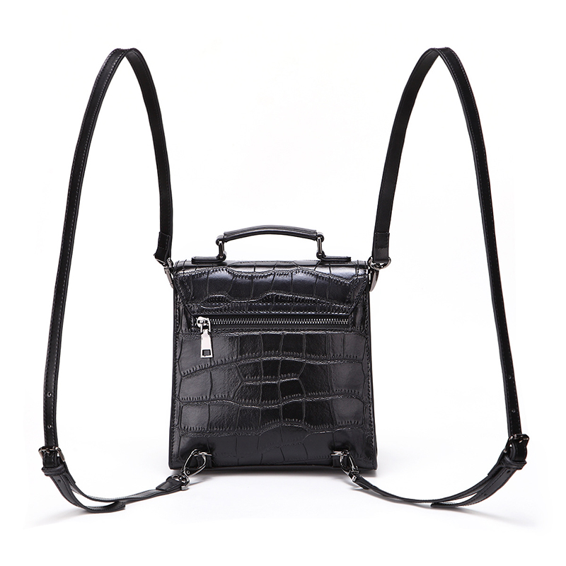 China factory new arrivel designer bag black crocodile grain leather backpack women's purse