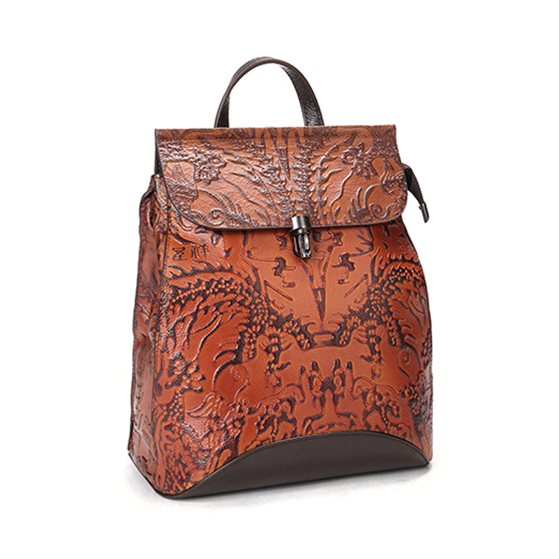 Newest design good quality retro style genuine leather handbag leather backpack for women