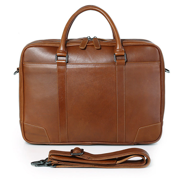 Wholesale price good quality vintage brown leather tote laptop briefcase bag for mens