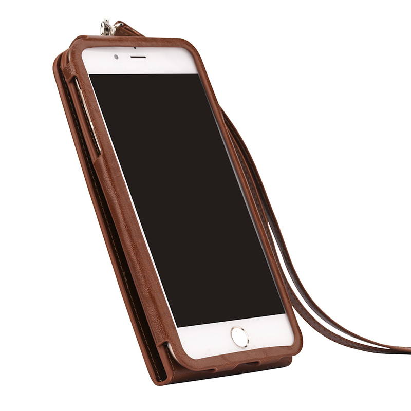 2018 new design wholesale price genuine leather iphone7 case with cards holder