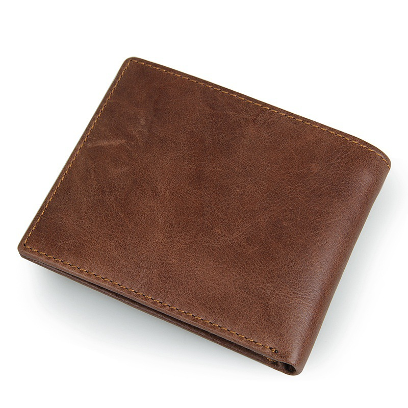 Wholesale price good quality retro style RFID brown leather men wallet credit card wallet
