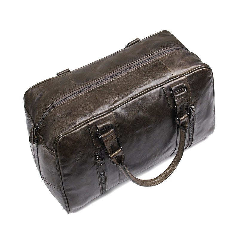 China manufacturer price genuine cowhide travel bag brown leather duffle bag for business trip
