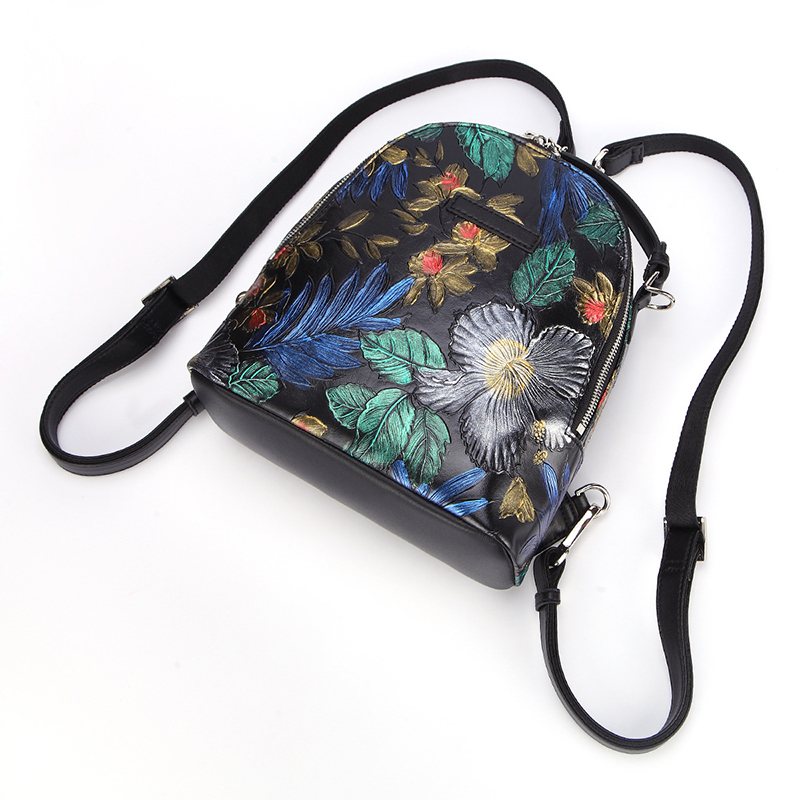 Custom design new collection genuine leather bag flowers pattern leather backpack for girls