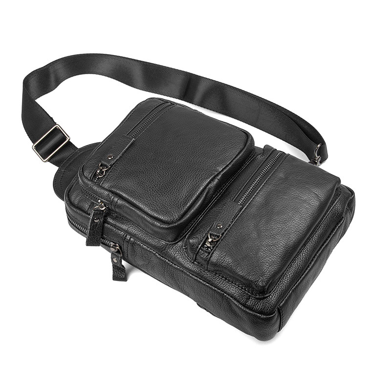 Good quality fashion men outdoor cross body bag black grain leather chest bag for men