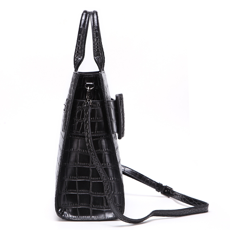 Hot selling fashion style black crocodile pattern leather purse designer bag for women