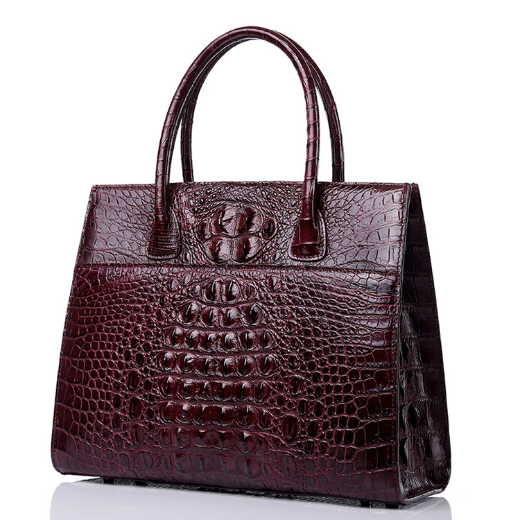 Top quality customized design red wine real crocodile leather tote bag for women