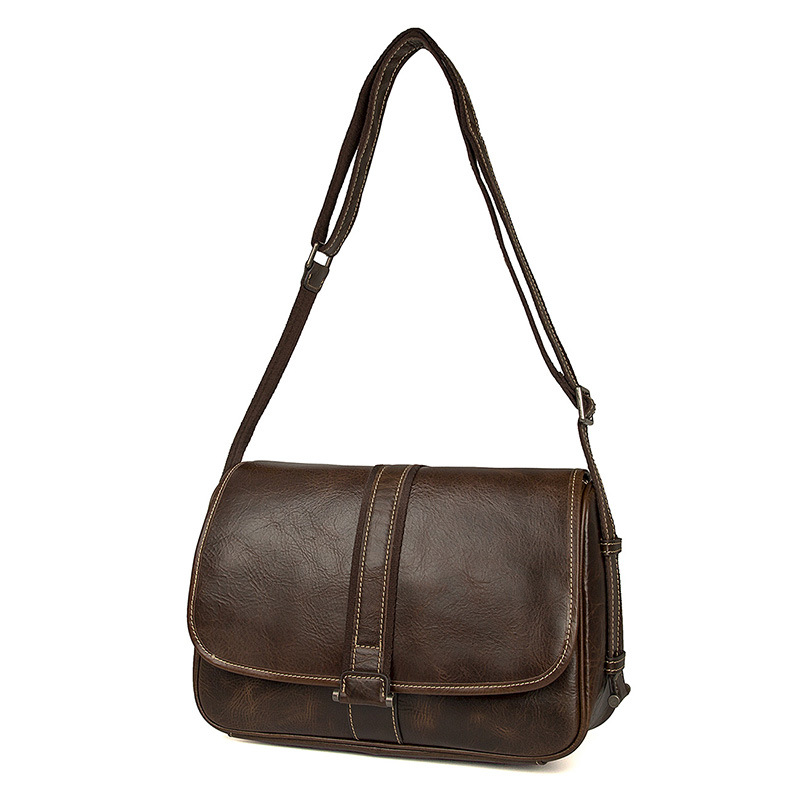 2018 Hot selling high quality retro brown leisure bag leather messenger