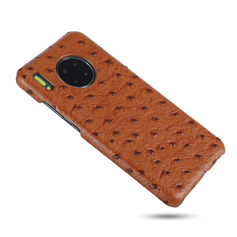 Wholesale price good quality ostrich grain cow leather mobile phone housing cell phone case for mate30