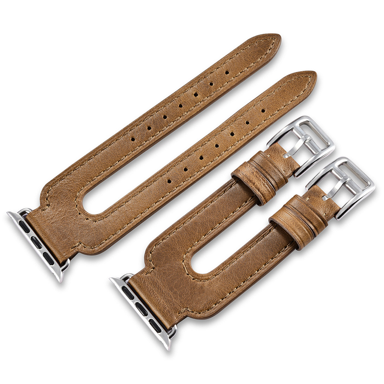 China factory custom design brown 38mm 42mm double belts real leather watch strap