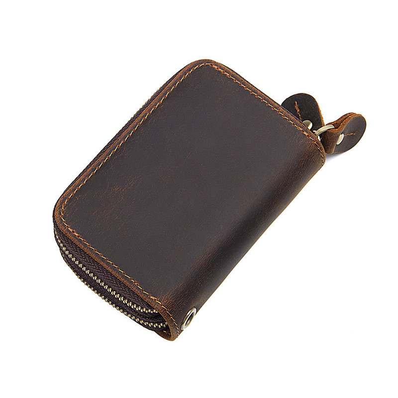 Cheap price good quality promotion gift small size brown crazy horse leather keys wallet